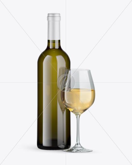 Antique Glass Wine Bottle w/ Glass Mockup