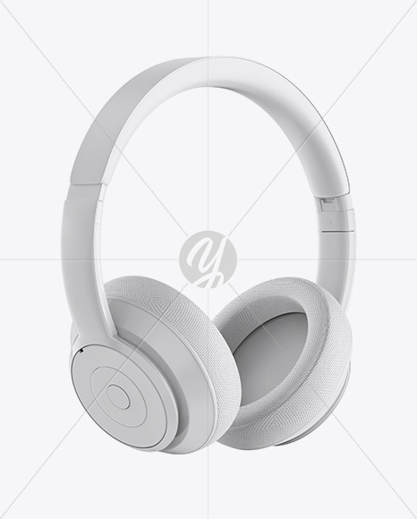 Glossy Headphones Mockup - Half Side View