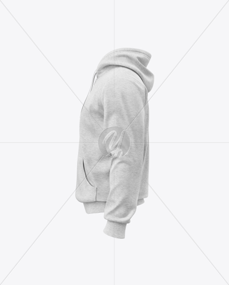 Download Mens Heather Full Zip Hoodie Mockup Right Half Side View Yellow Images