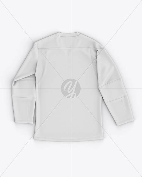 Men's Lace Neck Hockey Jersey Mockup - Back Top View