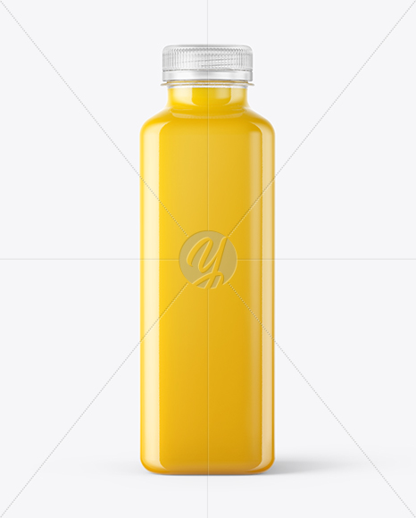 Square Orange Juice Bottle Mockup