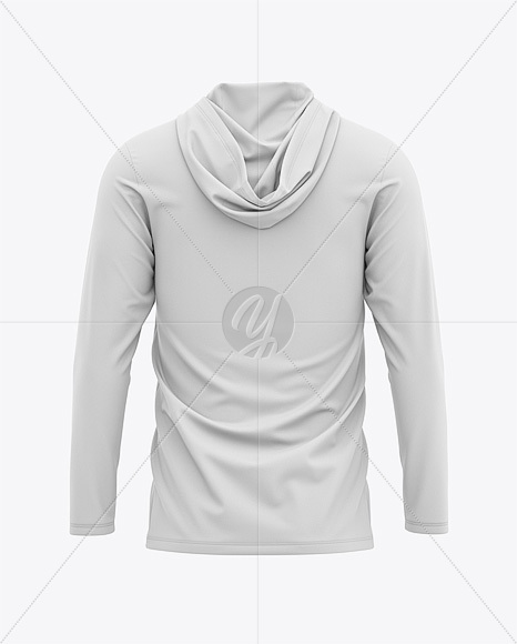 Men's Hooded Long Sleeve T-shirt Mockup - Back View