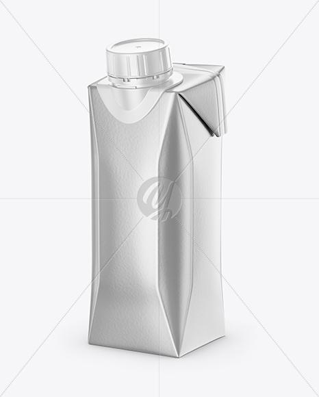 250ml Metallic Juice Carton Package Mockup in Packaging
