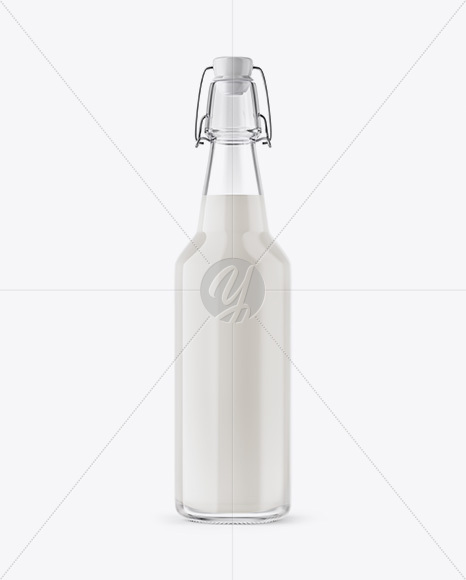 Clear Glass Water Bottle With Clamp Lid Mockup