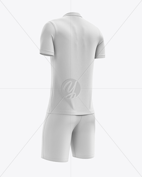 Men's Soccer Polo Kit mockup (Back Half Side View)