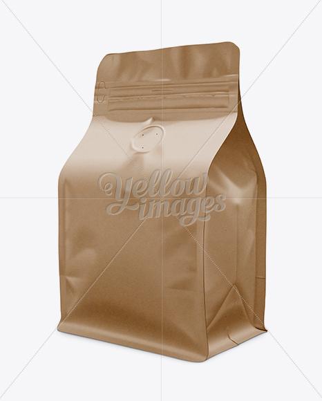 Flat Bottom Kraft Paper Bag Mockup / Front 3/4 View