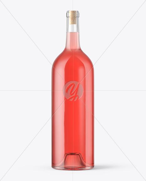 1.5L Pink Wine Bottle With Cork Mockup