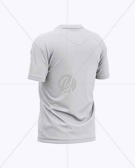 Men's Henley Jersey Mockup - Back Half Side View Of T-Shirt