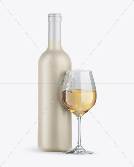 Ceramic Wine Bottle w/ White Wine Glass Mockup