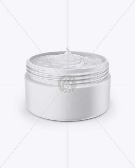 Opened Matte Jar with Cream Mockup