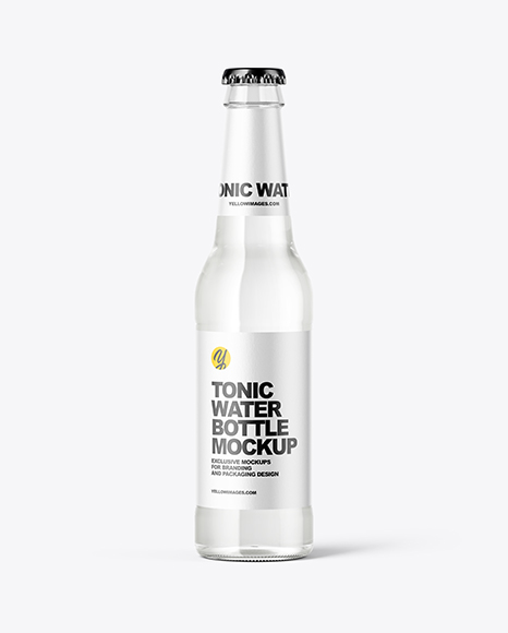 Clear Glass Bottle with Tonic Mockup