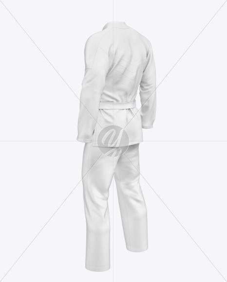 Jiu Jitsu Kimono Mockup (Back Half Side View)