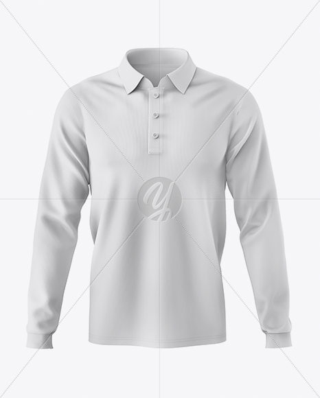 Men's Long Sleeve Polo Shirt Mockup - Front View