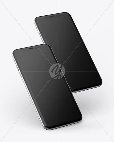 Download Two Apple iPhones X Mockup Free Mockups
