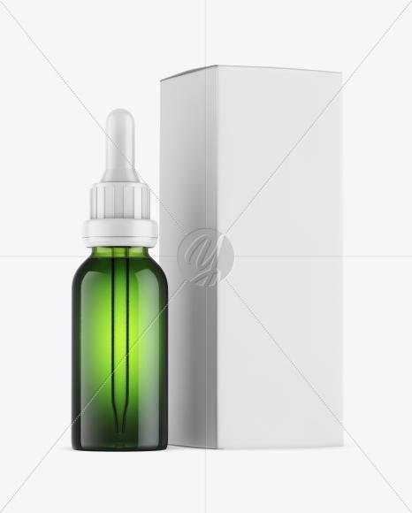 Green Glass Dropper Bottle w/ Box Mockup
