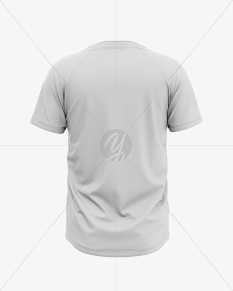 Men's Tow-Buttons Baseball Jersey Mockup - Back View