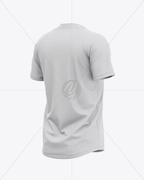 Men's Two-Buttons Baseball Jersey Mockup - Back Half Side View Of Henley T-Shirt