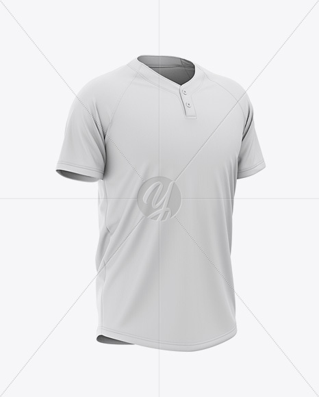 Men's Two-Buttons Baseball Jersey Mockup - Front Half Side View Of Henley T-Shirt