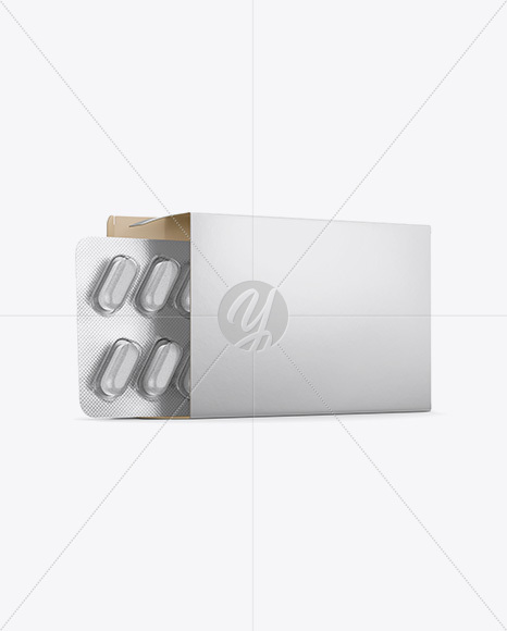 Opened Paper Box & Tablets Blister Mockup - Half Side View