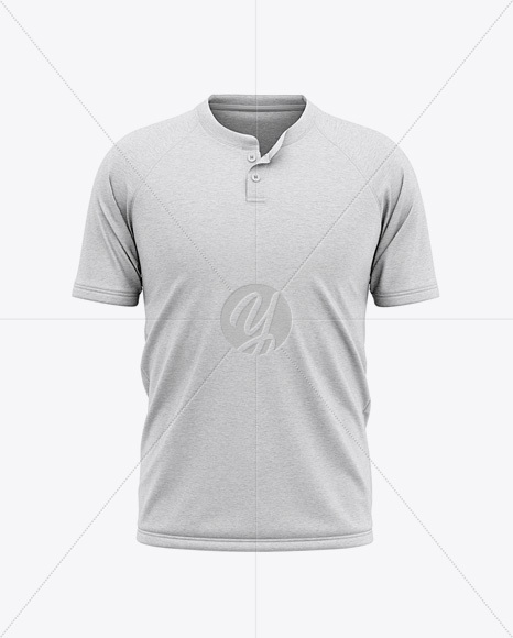 Men's Heather Henley Jersey Mockup - Front View Of T-Shirt