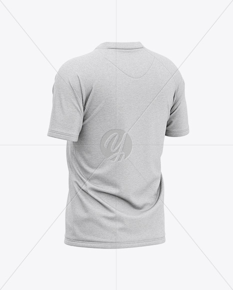 Men's Heather Henley Neck Tow-Buttons Jersey Mockup - Back Half Side View