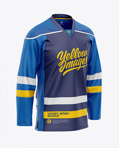 Men's Hockey Jersey Mockup - Front Half-Side View