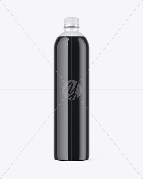 Clear PET Bottle with Black Water Mockup