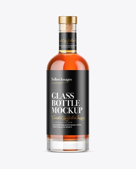 Clear Glass Cognac Bottle Mockup