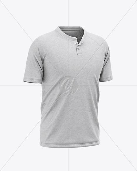 Men's Heather Henley Neck Tow-Buttons Jersey Mockup - Front Half Side View