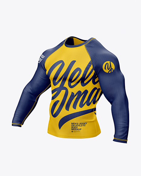 Men's Long Sleeve Jersey on Athletic Body Mockup in Apparel