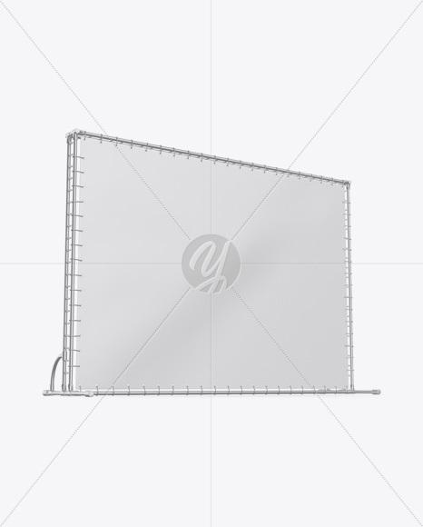 Press Wall Banner w/ Metallic Frame Mockup