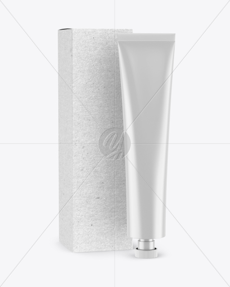 Matte Cosmetic Tube w/ Kraft Box Mockup