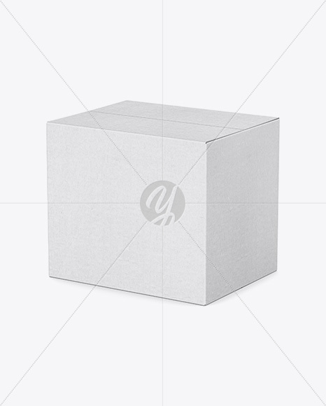 Rough Kraft Box Mockup - Half Side View (High-Angle Shot)