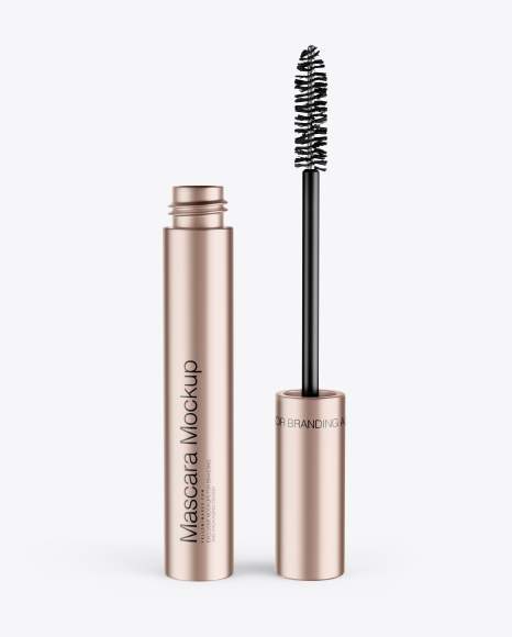 Opened Metallic Mascara Tube Mockup