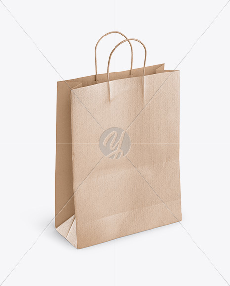 Kraft Shopping Bag With Rope Handle Mockup Front View