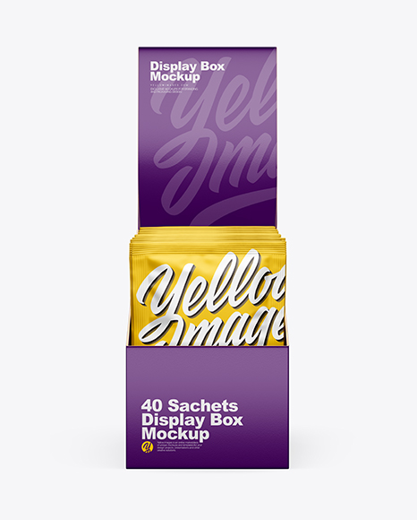 Display Box W Sachets Mockup In Box Mockups On Yellow Images