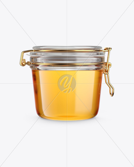 Clear Honey Jar with Clamp Lid Mockup