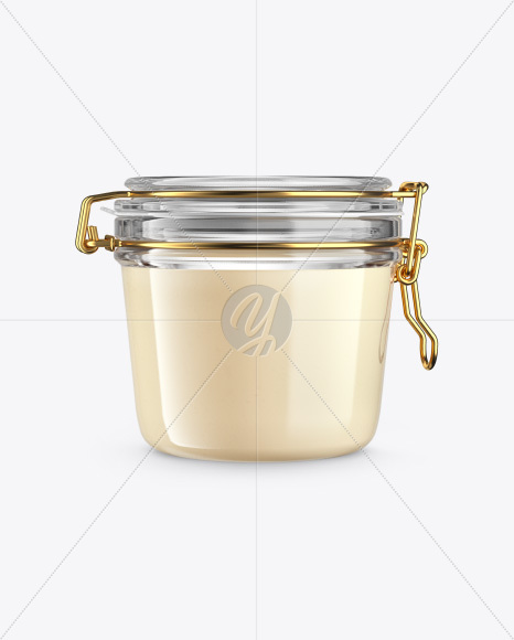 Creamed Honey Jar with Clamp Lid Mockup