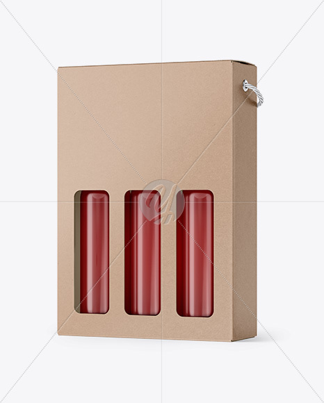 Kraft Rose Wine Bottles Box Mockup - Half Side View