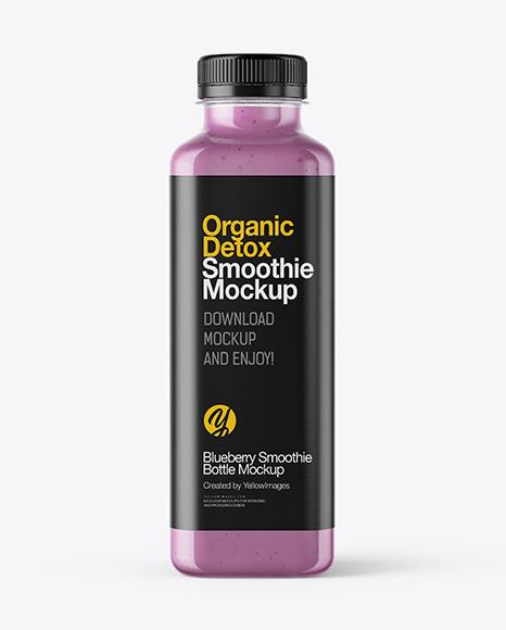 Square Blueberry Smoothie Bottle Mockup