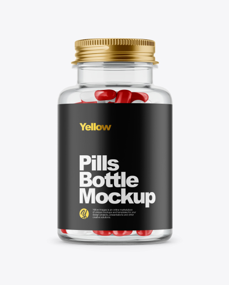 Clear Glass Pills Bottle Mockup