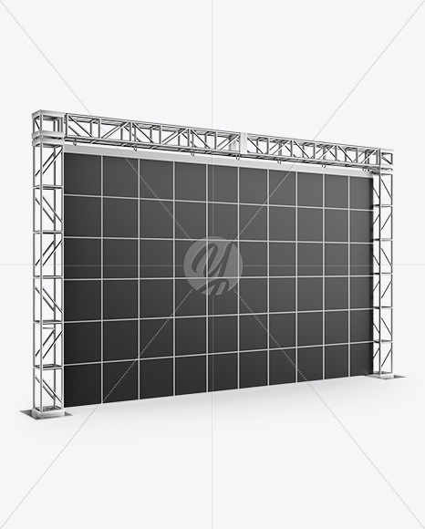 Exhibition Video Wall Mockup - Half Side View