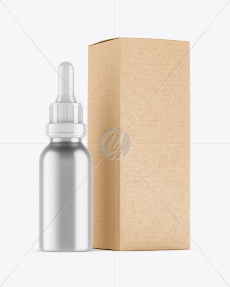 Metallic Dropper Bottle w/ Kraft Box Mockup