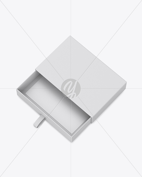 Opened Gift Box Mockup - Half Side View (High Angle Shot)