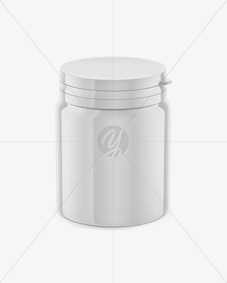 Glossy Plastic Pills Jar Mockup - High-Angle Shot