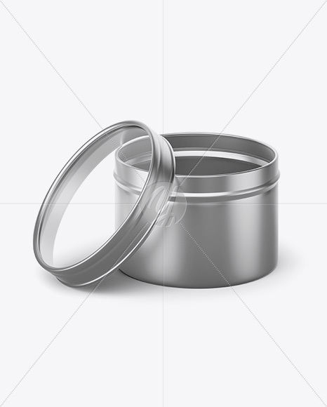 50g Open Metallic Jar With Clear Glass Window Mockup (high-angle view)