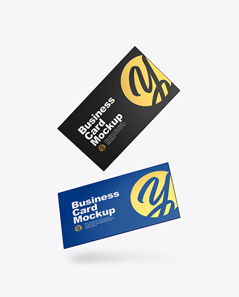 Download Two Paper Business Cards PSD Mockup
