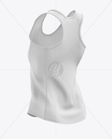 Women's Running Singlet mockup (Back Half Side View)