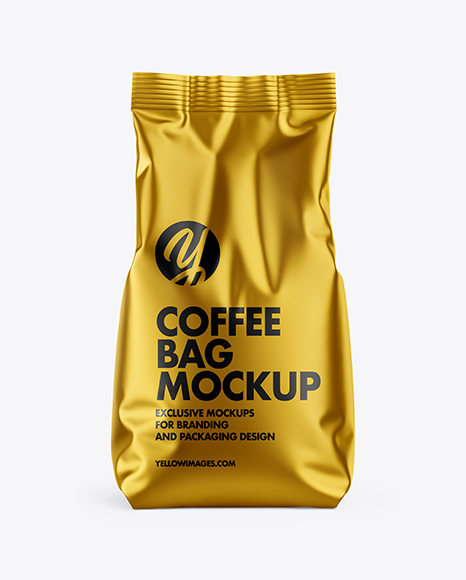 Download Matte Metallic Coffee Bag PSD Mockup
