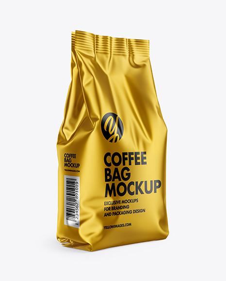 Download Matte Metallic Coffee Bag PSD Mockup